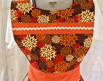 Fall Apron, Women's Apron, Orange, Brown, Red, Flowers