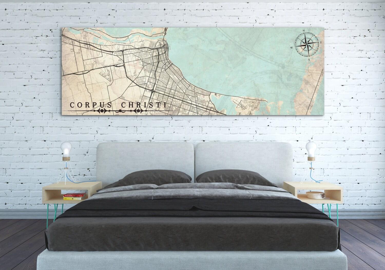 Corpus Christi Print Tx Texas Vintage Map City Horizontal