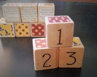 Harry Potter Number Wood Baby Blocks - Hogwarts house colors, real book excerpts, set of 10