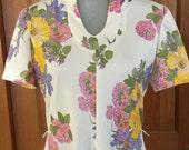 70's Leslie Fay Original Floral Dress, Vintage Leslie Fay Pastel Floral White Printed Polyester Dress
