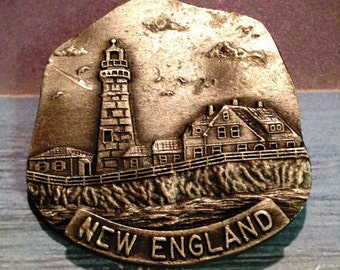 New England Brooch, New England Pin, Lighthouse Brooch, Sea Side Brooch, Silver New Enlgand Brooch