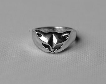 Cat ring, sterling silver ring, cat face ring, cat jewelry, animal jewelry, silver cat ring, kitten ring, cat lady gift, cat lovers gift