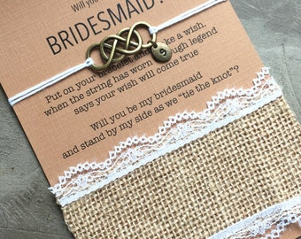 Bridesmaid proposal bracelet, Burlap wedding, Will you be my bridesmaid jewelry, Wish bracelet, Asking gifts, Bridesmaid proposal gift, BB10
