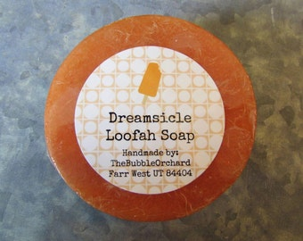 Dreamsicle Loofah Soap, Glycerin Soap, FREE SHIPPING