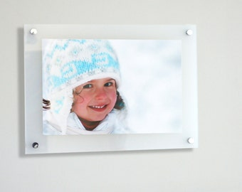 "White frost Cheshire acrylic floating picture photo wall frame for a 12x8"" /A4 photo frame made in UK"