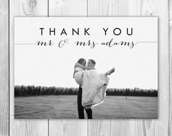 Custom Photo Wedding Thank You Card, Calligraphy Thank You Card, Wedding Thank You Card Photo, Printable