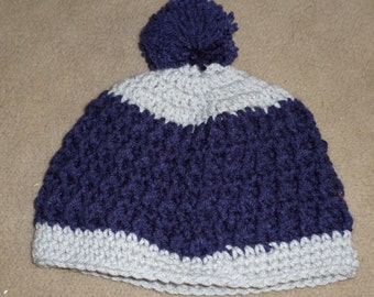 Navy Blue and Gray Beanie