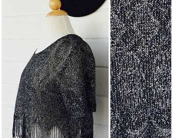 silver lace crop blouse - vintage lace crop top  - silver sparkle fringe top - S/ M / L - free size