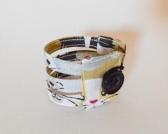 Cats cuff bracelet, fabric bracelet, brown cuff bracelet, fabric jewelry, cat lover gifts