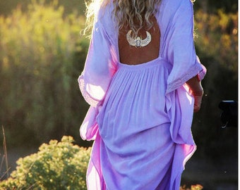 summer long dress Backless Beach Dress TieDye in lilac/white or pink/white