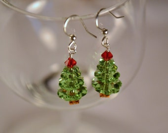 Swarovski Crystal Holiday Light Green Tree Earrings, Christmas Earrings, Christmas Tree