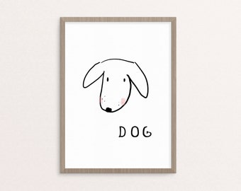 Dog Nursery Art, printable Black and White Nursery Art, Downloadable Print, Wall Print, Nursery Print, Printable Art, Nursery Decor
