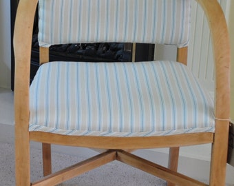 Wooden armchair, green and cream, stripes.