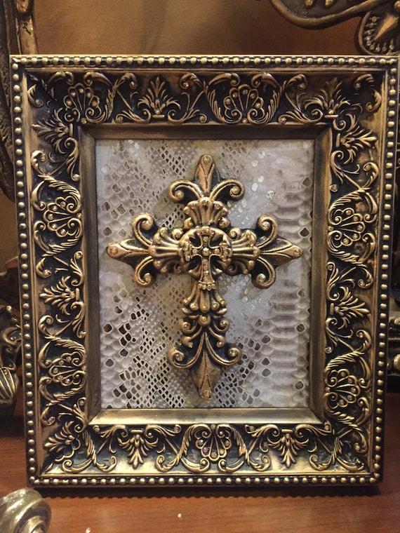 8 x 10 decorative embellished gold frame with cross and bling. Black Bedroom Furniture Sets. Home Design Ideas