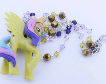 My Little Pony Yellow Princess Celestia Swarvoski crystal kawaii necklace cosplay brony pegasister jewelry