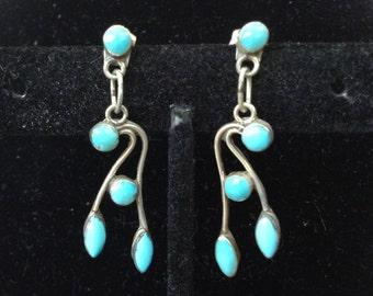 Turquoise Dangle 925 Silver Pierced Earrings