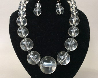 Large Lucite Bubble Bead Graduated Necklace and Earring Set
