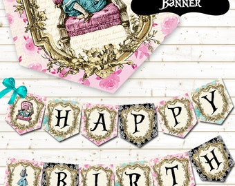 Alice in Wonderland Party Banner - Alice in Wonderland Printable Banner - Alice in Wonderland Garland - Instant Download - DIY Decorations