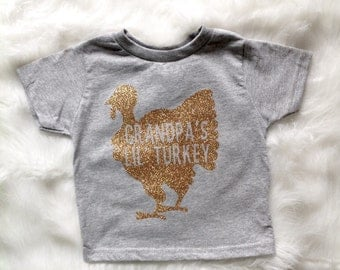 Grandpa's Lil' Turkey/ Toddler Thanksgiving shirt/ Gobble Gobble Shirt