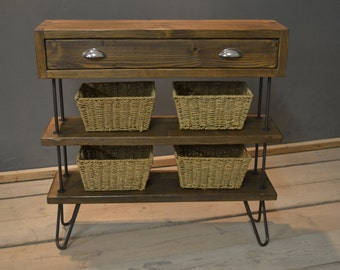 Single Drawer Hall Stand with Baskets, Handmade Modern Rustic  (The Possingworth)