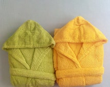 100% Cotton Yellow/Green Bathrobe Boys bathrobe Natural Bath Hooded bathrobe Girls Bathrobe Swimsuit beddings Kids towel
