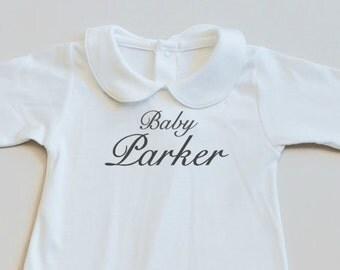 Peter pan collar pajamas- footie-pajama-sleeper-footed playsuit-baby pajamas-toddler pajamas-personalized pjs-custom pajamas-baby's name