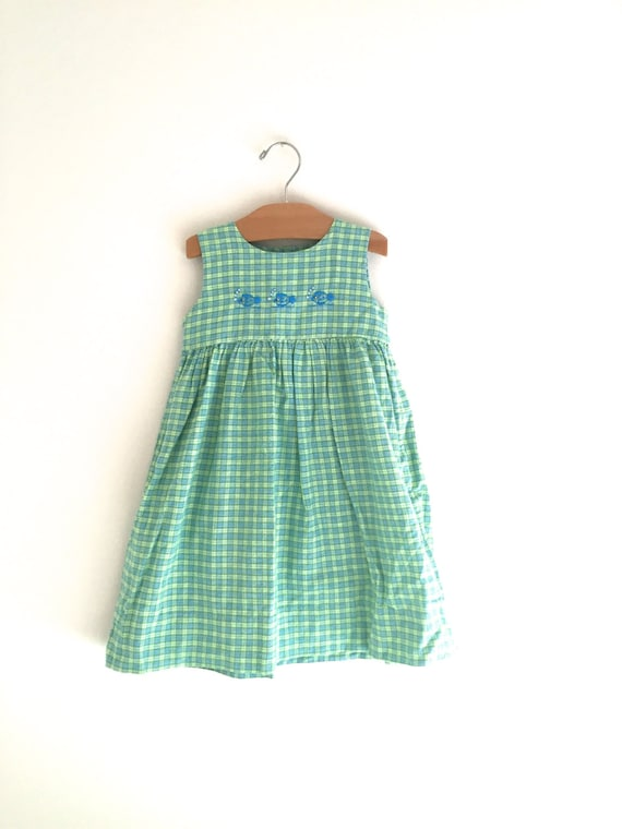 Vintage 90 39 s green blue fish dress girl 39 s vintage for Blue fish clothing