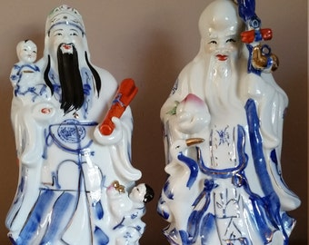 A Pair Of Fantastic Vintage Large Chinese Statues Fu Xing And Shou Xing Statues - Large Chinese Blue And White Fu Xing & Shou Xing Statues