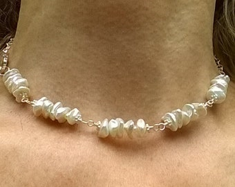White Freshwater Keshi Pearl and Sterling Silver Necklace, Big Lobster Clasp, Seed Pearls, Choker, Wire Wrap
