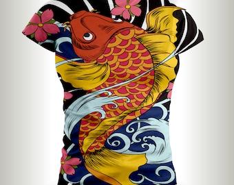 Koi Fish T-shirts,Japanese culture,Japanese Koi Fish shirts,Asian design,Japanese designs,Koi Fish Tattoo,Koi Fish,Koi fish ink,Japan.