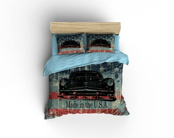 Hot Rod Bedding,Hot Rod Duvet cover,Hot Rods,Cars,Muscle Cars,Made in the USA,Car bedding,classic cars duvet covers,classic cars,Low riders.