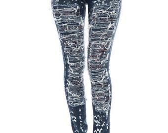 Paint Splattered Denim Skinny Jeans