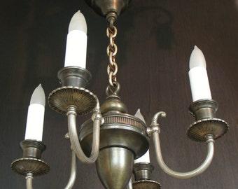 Antique Ceiling Lights: Edwardian era Colonial Revival Four Light Chandelier