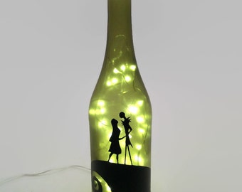 Nightmare Before Christmas Wine Bottle Lamp / Jack and Sally
