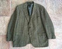 1960s Sack Herringbone Tweed Wool Sport Coat 44R 3/2 Roll Ivy League Trad
