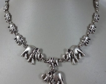 Vintage Silver Elephant Necklace