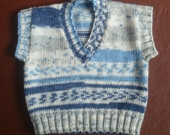 Hand-knitted baby boys tank top