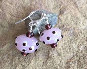 Pretty pink earrings, polka dot earrings, lampwork glass bead drop earrings, dangle earrings, everyday earrings, unique earrings