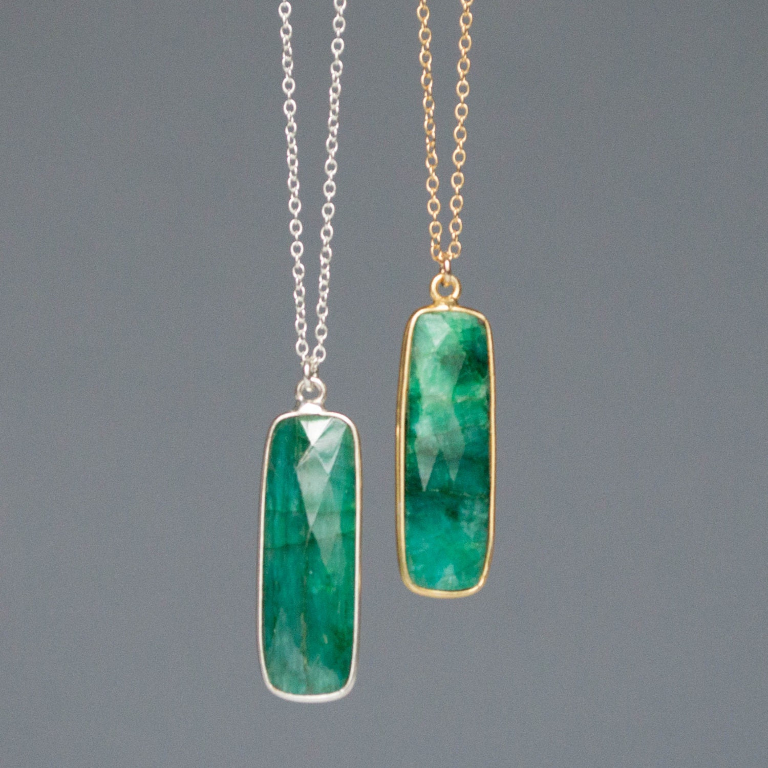 Emerald Necklace Gold Emerald Green Necklace Emerald Pendant