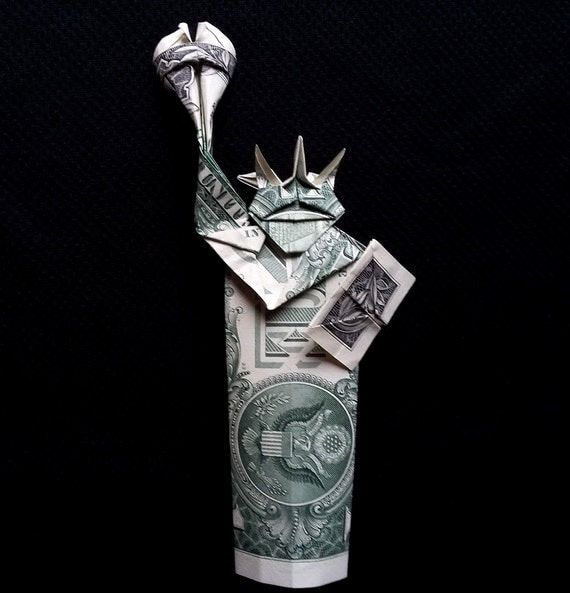 money origami statue of liberty art gifts figurine real two 1. Black Bedroom Furniture Sets. Home Design Ideas