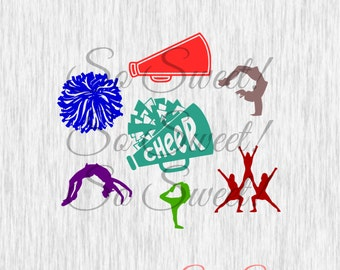 Cheer Pack SVG / DXF Variety Cut Files Poses Pom Pom Megaphone Cheerleader Cut File Silhouette Svg Dxf Cheear Team Monogram Cheerleading Svg
