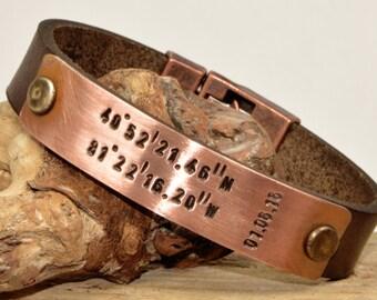 FAST SHIPPING, Men's  Bracelet, Men Personalize Gift, Personalize Leather Men's Coordinate Bracelet, Fathers  Day Bracelet, For Him Bracelet