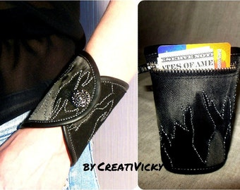 Leather Denim Purse Wristlet Wallet, Woman wrist wallet cuff , bracelet wallet, Purse bracelet, black leather cuff ,money cuff, gift for her