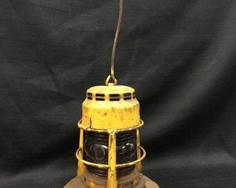 Vintage Dietz Yellow Traffic Gard Red Globe Lantern ~