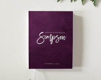 Purple Eggplant Watercolor Wedding Guest Book Modern Wedding Guestbook Custom Wedding Guest Book Personalized Guestbook Wedding Keepsake