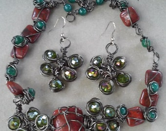 "Handmade Jewelry Set- Hematite, Crystal, Stone, Glass, Design, Collared Necklace (19"")/ Earrings (1.5"")"