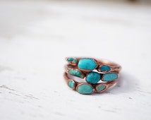 Turquoise Copper Ring / Raw Turquoise / Raw Stone Ring / Stacking Ring / Solitaire Ring / Copper Ring / Triple Stone Ring