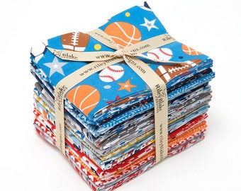 QUILTING COTTON: Riley Blake Play Ball Fat Quarter Bundle.