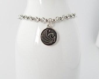 UCF - University of Central Florida Knights logo charm on a chain bracelet