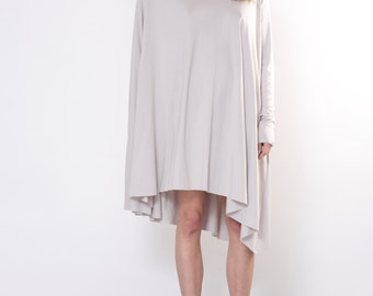 Beige oversized dress/ Bright wide dress/ Beige flared dress/ Mid-lenght dress by DIDRESS